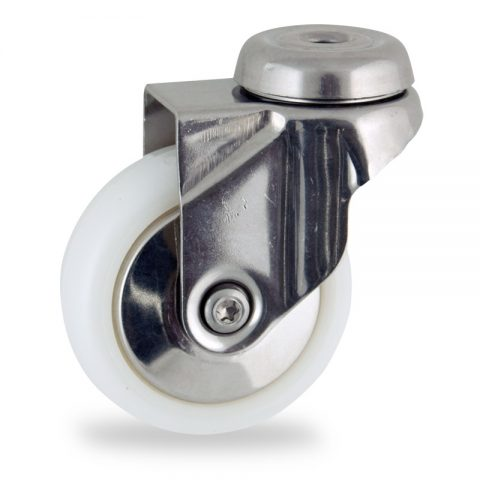 Stainless swivel castor 75mm for light trolleys,wheel made of polyamide,plain bearing.Bolt hole fitting