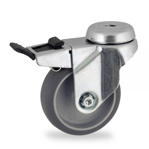 Zinc plated total lock castor 50mm for light trolleys,wheel made of grey rubber,plain bearing.Bolt hole fitting