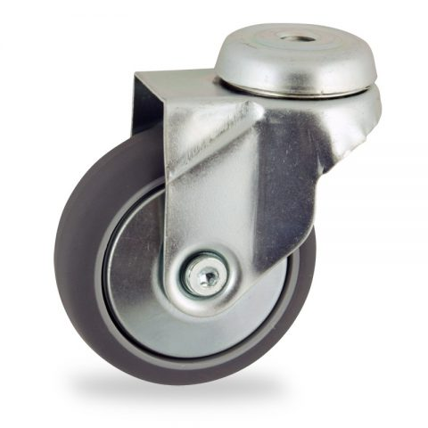 Zinc plated swivel castor 100mm for light trolleys,wheel made of grey rubber,double ball bearings.Bolt hole fitting