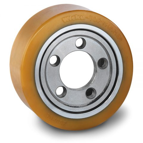 Drive wheel for electric pallet truck 250mm from polyurethane Flange application with 5 holes for machines Still-Wagner,Linde