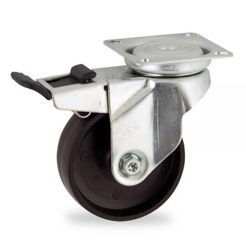 Zinc plated total lock castor 100mm for light trolleys,wheel made of polypropylene,plain bearing.Top plate fitting