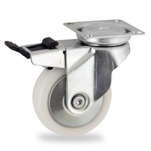 Zinc plated total lock castor 75mm for light trolleys,wheel made of polyamide,plain bearing.Top plate fitting