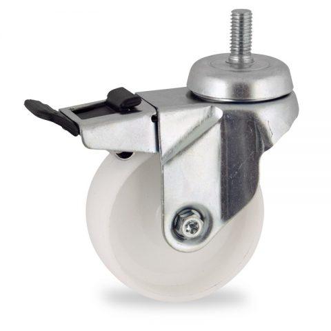 Zinc plated total lock castor 125mm for light trolleys,wheel made of polyamide,plain bearing.Bolt stem fitting