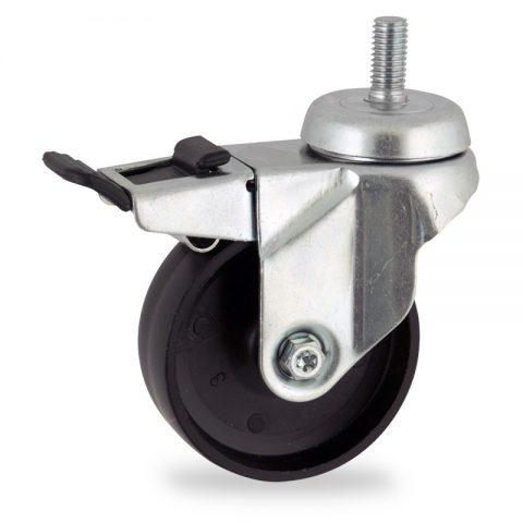 Zinc plated total lock castor 125mm for light trolleys,wheel made of polypropylene,plain bearing.Bolt stem fitting