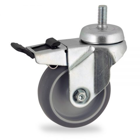 Zinc plated total lock castor 75mm for light trolleys,wheel made of grey rubber,plain bearing.Bolt stem fitting