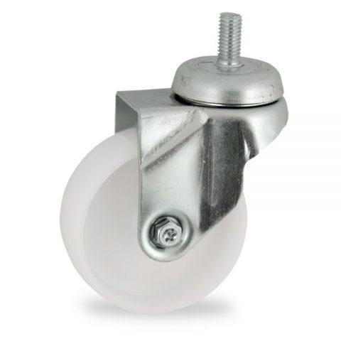 Zinc plated swivel castor 100mm for light trolleys,wheel made of polyamide,plain bearing.Bolt stem fitting