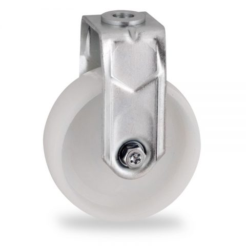 Zinc plated fixed castor 50mm for light trolleys,wheel made of polyamide,plain bearing.Bolt hole fitting