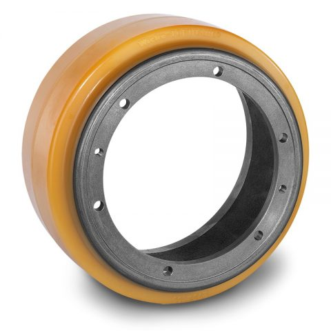 Drive wheel for electric pallet truck 260mm from polyurethane Flange application with 6 holes for machines Jungheinrich