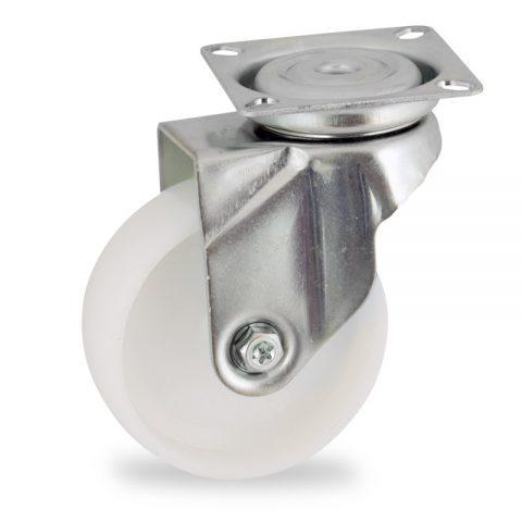 Zinc plated swivel castor 50mm for light trolleys,wheel made of polyamide,plain bearing.Top plate fitting