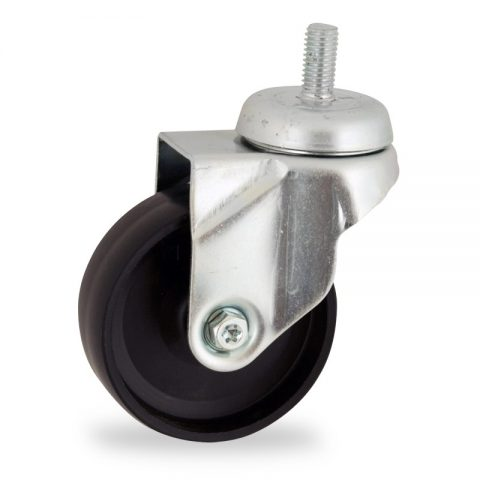 Zinc plated swivel castor 50mm for light trolleys,wheel made of polypropylene,plain bearing.Bolt stem fitting