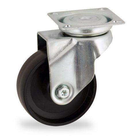Zinc plated swivel castor 125mm for light trolleys,wheel made of polypropylene,plain bearing.Top plate fitting