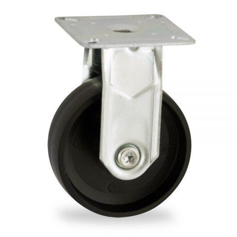 Zinc plated fixed castor 100mm for light trolleys,wheel made of polypropylene,plain bearing.Top plate fitting