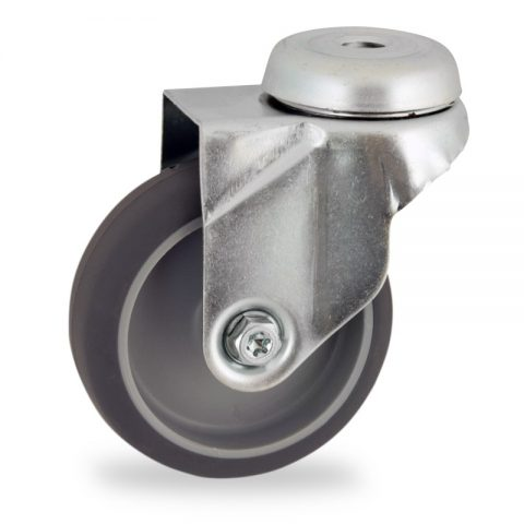 Zinc plated swivel castor 100mm for light trolleys,wheel made of grey rubber,plain bearing.Bolt hole fitting