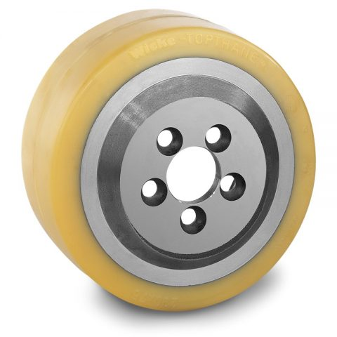 Drive wheel for electric pallet truck 230mm from polyurethane Flange application with 5 holes for machines Still-Wagner