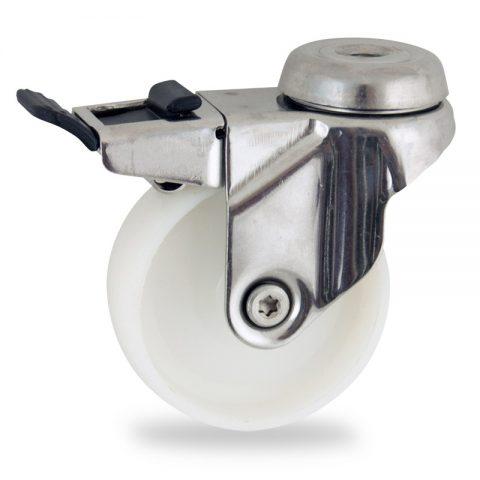 Stainless total lock castor 125mm for light trolleys,wheel made of polyamide,plain bearing.Bolt hole fitting