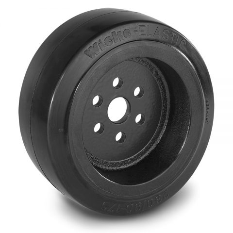 Drive wheel for electric pallet truck 230mm from Elastic Rubber Flange application with 6 holes for machines Linde