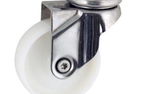Stainless swivel castor 75mm for light trolleys,wheel made of polyamide,plain bearing.Top plate fitting