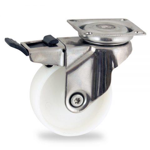 Ανοξείδωτη ρόδα με φρένο 50mm για καρότσι ελαφρύ,με τροχό από Νάυλον χωρίς ρουλεμάν.Προσαρμογή με πλάκα.