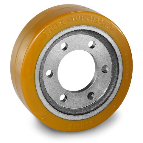 Drive wheel for electric pallet truck 230mm from polyurethane Flange application with 6 holes for machines Hyster/Yale