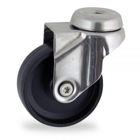 Stainless swivel castor 75mm for light trolleys,wheel made of polypropylene,plain bearing.Bolt hole fitting