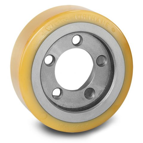 Drive wheel for electric pallet truck 250mm from polyurethane Flange application with 5 holes for machines Pimespo,Linde