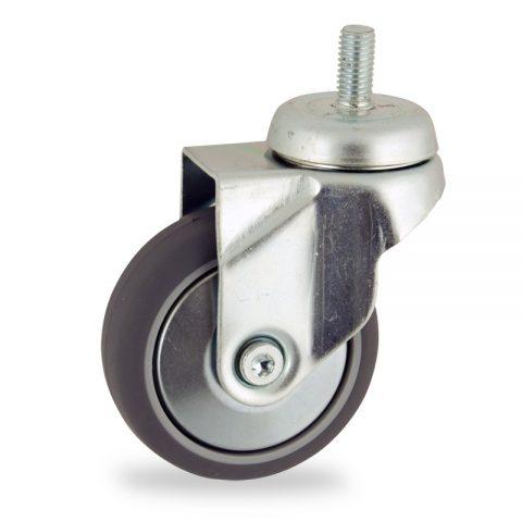 Zinc plated swivel castor 75mm for light trolleys,wheel made of grey rubber,plain bearing.Bolt stem fitting