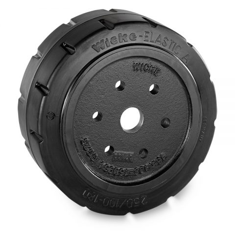 Drive wheel for electric pallet truck 250mm from Elastic Rubber Flange application with 6 holes for machines Hyster/Yale