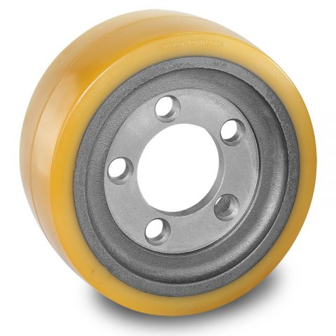 Drive wheel for electric pallet truck 254mm from polyurethane Flange application with 5 holes for machines Linde