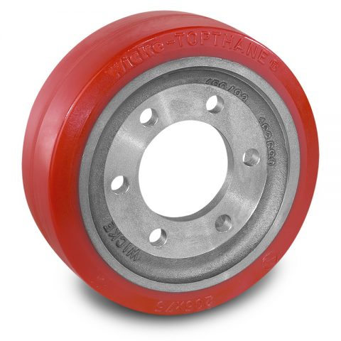 Drive wheel for electric pallet truck 233mm from polyurethane Flange application with 6 holes for machines Hyster/Yale