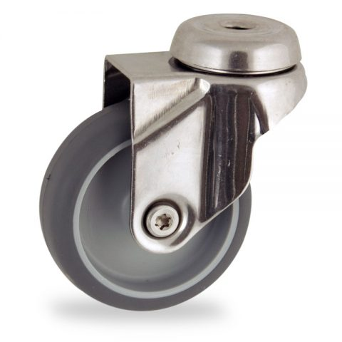 Stainless swivel castor 75mm for light trolleys,wheel made of grey rubber,double ball bearings.Bolt hole fitting