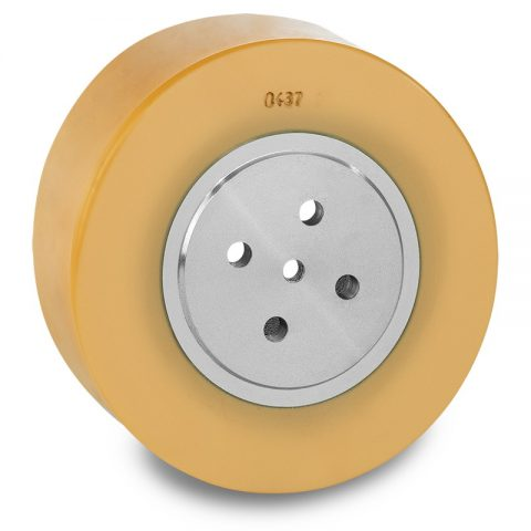Drive wheel for electric pallet truck 200mm from polyurethane Flange application with 4 holes for machines Jungheinrich,MIC