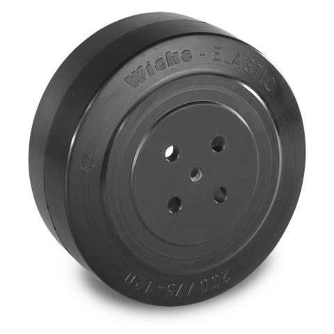 Drive wheel for electric pallet truck 200mm from Elastic Rubber Flange application with 4 holes for machines Jungheinrich,MIC,Manusur