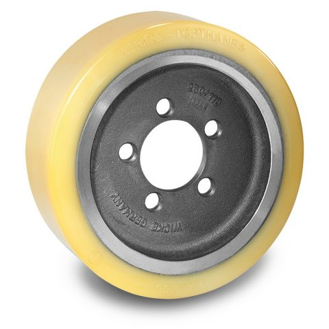 Drive wheel for electric pallet truck 310mm from polyurethane Flange application with 5 holes for machines BT