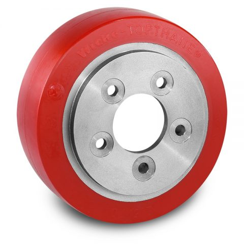 Drive wheel for electric pallet truck 215mm from polyurethane Flange application with 5 holes for machines BT
