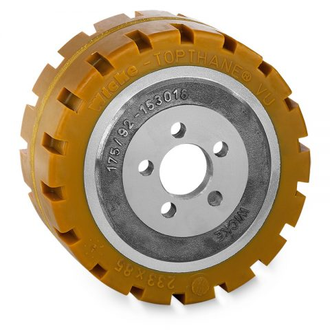Drive wheel for electric pallet truck 233mm from polyurethane Flange application with 5 holes for machines MIC,Jungheinrich