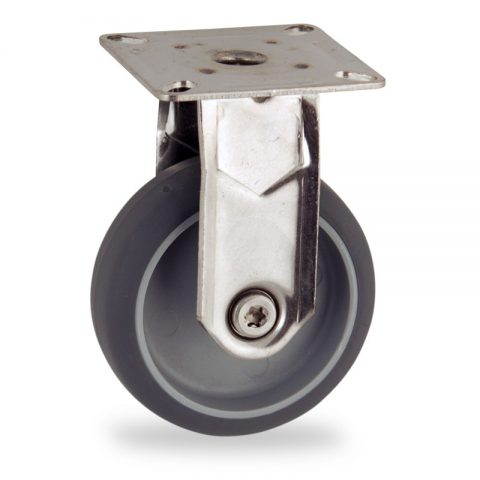 Stainless fixed castor 125mm for light trolleys,wheel made of grey rubber,plain bearing.Top plate fitting
