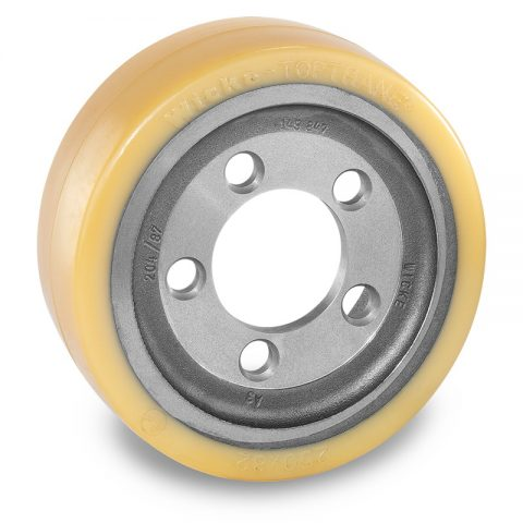 Drive wheel for electric pallet truck 250mm from polyurethane Flange application with 5 holes for machines Atlet