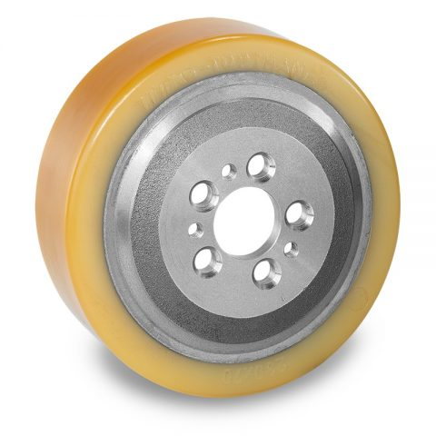 Drive wheel for electric pallet truck 230mm from polyurethane Flange application with 5 holes for machines Jungheinrich