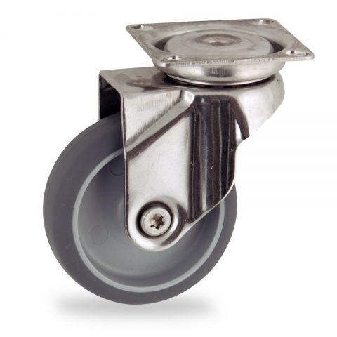 Stainless swivel castor 50mm for light trolleys,wheel made of grey rubber,plain bearing.Top plate fitting