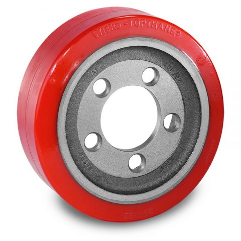 Drive wheel for electric pallet truck 254mm from polyurethane Flange application with 5 holes for machines Stocklin