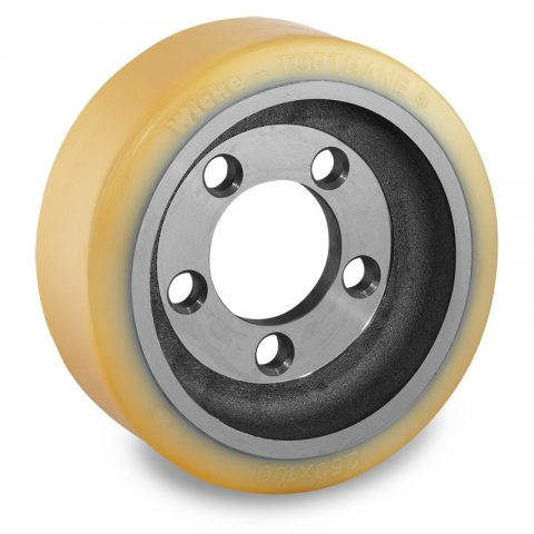 Drive wheel for electric pallet truck 250mm from polyurethane Flange application with 5 holes for machines Still-Wagner