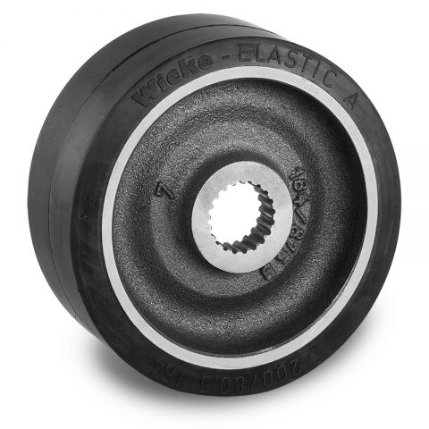Drive wheel for electric pallet truck 200mm from Elastic Rubber Multi-teeth gear hub application holes for machines Still-Wagner