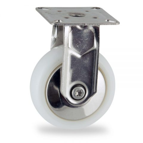 Stainless fixed castor 75mm for light trolleys,wheel made of polyamide,plain bearing.Top plate fitting