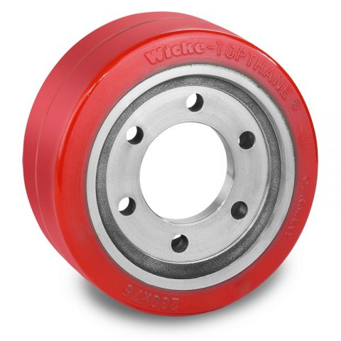 Drive wheel for electric pallet truck 230mm from polyurethane Flange application with 6 holes for machines Stocklin