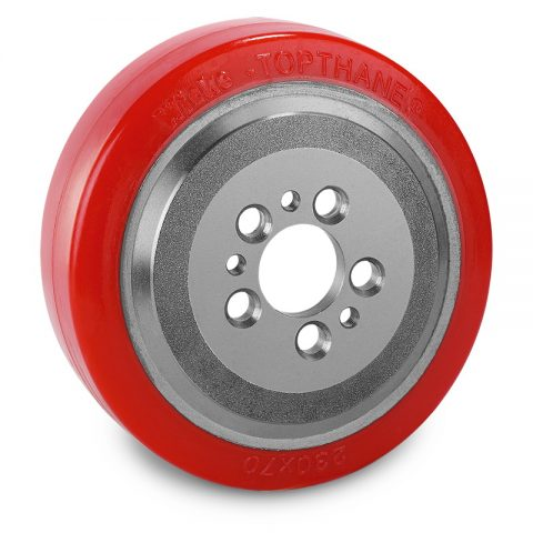 Drive wheel for electric pallet truck 230mm from polyurethane Flange application with 5 holes for machines MIC,Jungheinrich