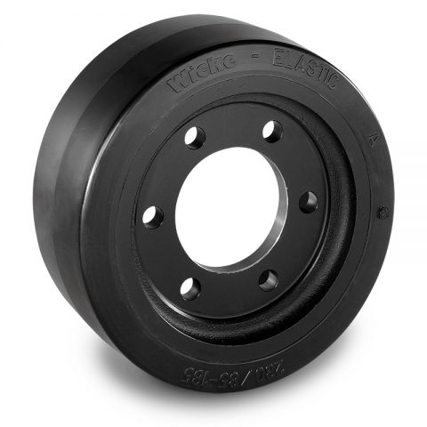 Drive wheel for electric pallet truck 230mm from Elastic Rubber Flange application with 6 holes for machines Hyster/Yale