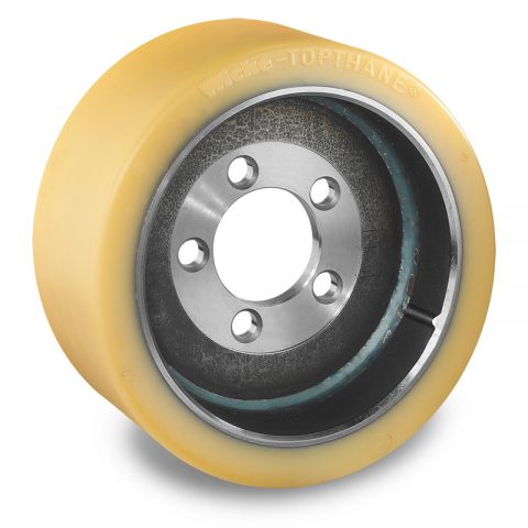 Drive wheel for electric pallet truck 300mm from polyurethane Flange application with 5 holes for machines Still-Wagner