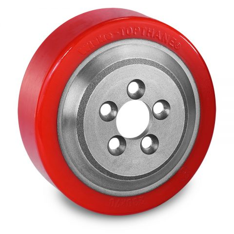 Drive wheel for electric pallet truck 230mm from polyurethane Flange application with 5 holes for machines Lafis