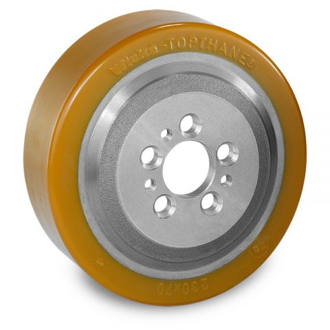 Drive wheel for electric pallet truck 230mm from polyurethane Flange application with 5 holes for machines Jungheinrich,Steinbock
