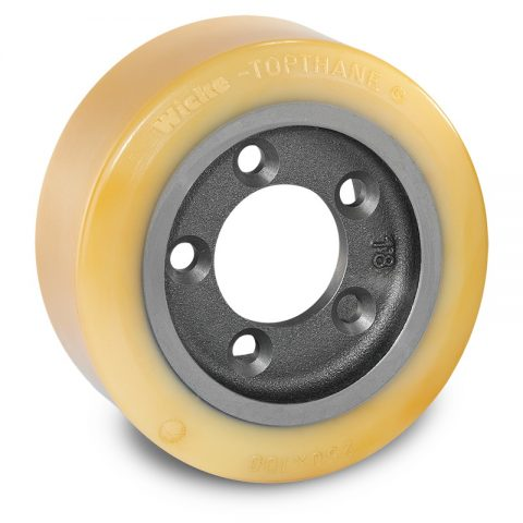 Drive wheel for electric pallet truck 250mm from polyurethane Flange application with 5 holes for machines Rocla/MCFE